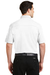 Port Authority K5200 Mens Silk Touch Performance Moisture Wicking Short Sleeve Polo Shirt White Back