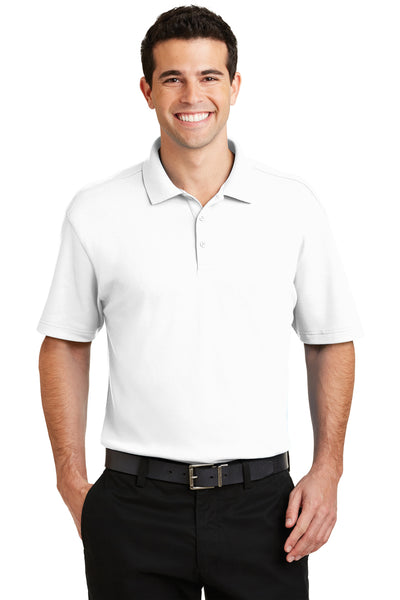 Port Authority K5200 Mens Silk Touch Performance Moisture Wicking Short Sleeve Polo Shirt White Front