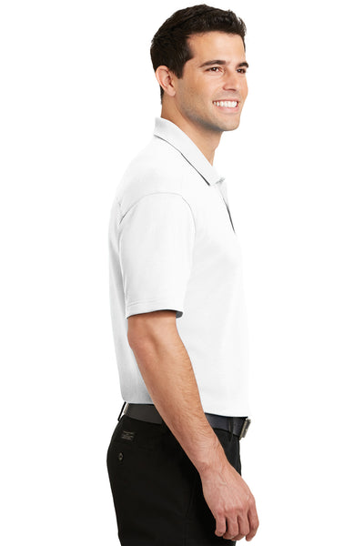Port Authority K5200 Mens Silk Touch Performance Moisture Wicking Short Sleeve Polo Shirt White Side
