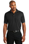 Port Authority K524 Mens Dry Zone Moisture Wicking Short Sleeve Polo Shirt Black/Grey Front