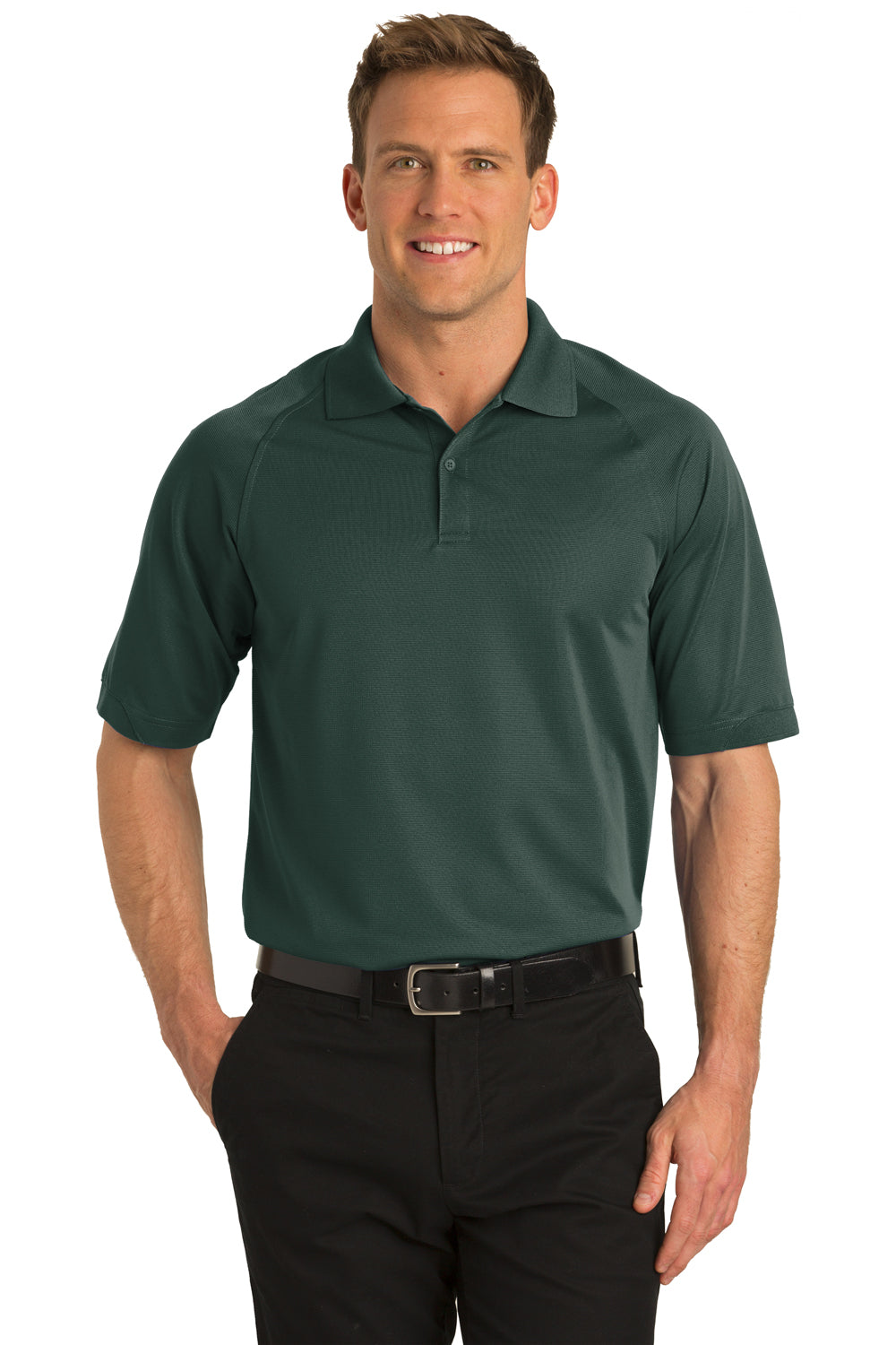 Port Authority K525 Mens Dry Zone Moisture Wicking Short Sleeve Polo Shirt Dark Green Front