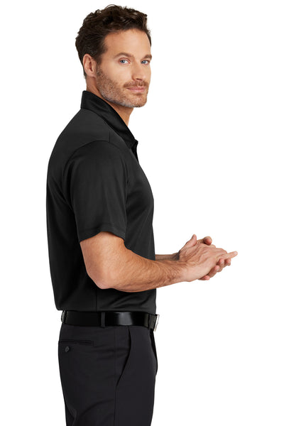 Port Authority K540 Mens Silk Touch Performance Moisture Wicking Short Sleeve Polo Shirt Black Side