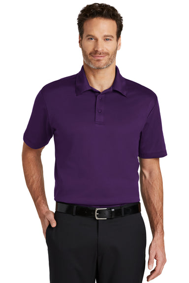 Port Authority K540 Mens Silk Touch Performance Moisture Wicking Short Sleeve Polo Shirt Purple Front
