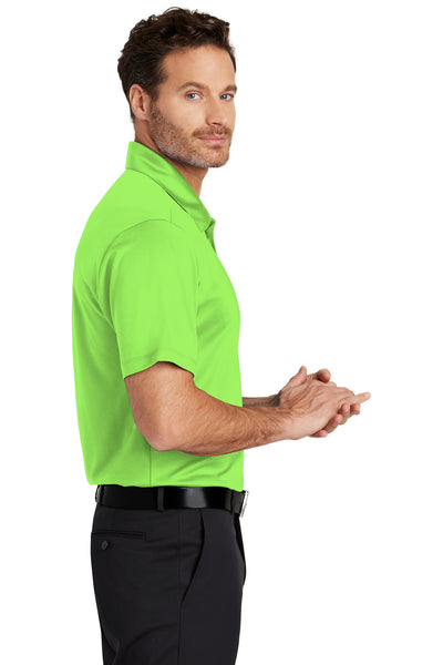 Port Authority K540 Mens Silk Touch Performance Moisture Wicking Short Sleeve Polo Shirt Lime Green Side