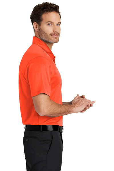 Port Authority K540 Mens Silk Touch Performance Moisture Wicking Short Sleeve Polo Shirt Neon Orange Side