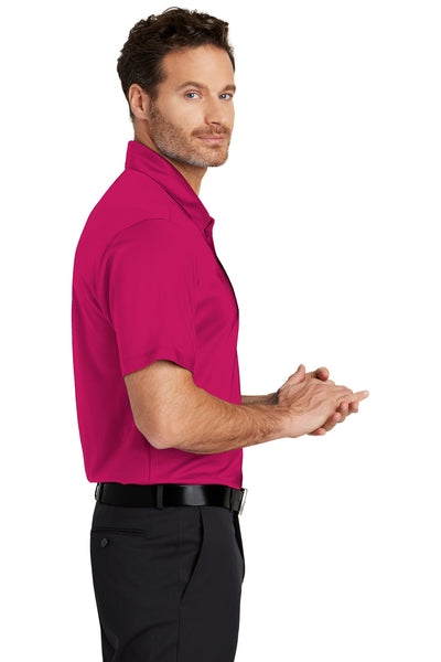 Port Authority K540 Mens Silk Touch Performance Moisture Wicking Short Sleeve Polo Shirt Raspberry Pink Side