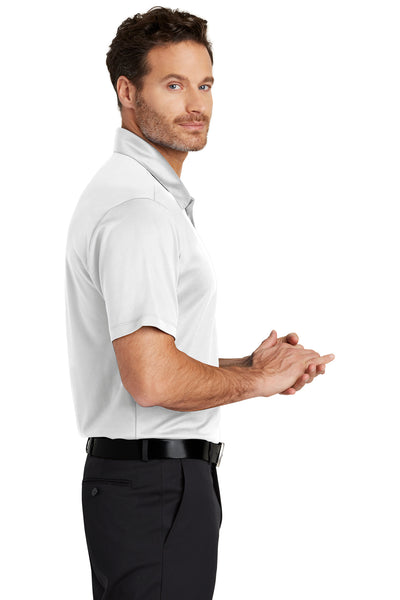 Port Authority K540 Mens Silk Touch Performance Moisture Wicking Short Sleeve Polo Shirt White Side