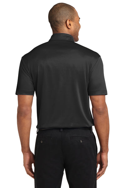 Port Authority K540P Mens Silk Touch Performance Moisture Wicking Short Sleeve Polo Shirt w/ Pocket Black Back