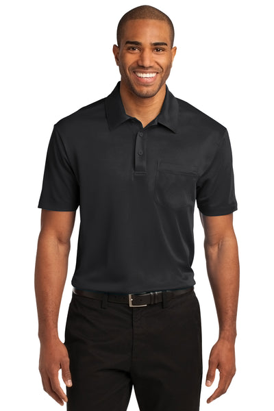 Port Authority K540P Mens Silk Touch Performance Moisture Wicking Short Sleeve Polo Shirt w/ Pocket Black Front