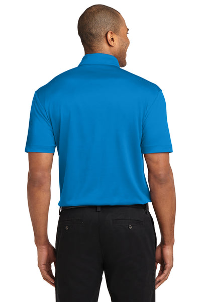 Port Authority K540P Mens Silk Touch Performance Moisture Wicking Short Sleeve Polo Shirt w/ Pocket Brilliant Blue Back