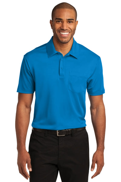 Port Authority K540P Mens Silk Touch Performance Moisture Wicking Short Sleeve Polo Shirt w/ Pocket Brilliant Blue Front