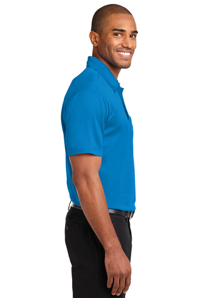Port Authority K540P Mens Silk Touch Performance Moisture Wicking Short Sleeve Polo Shirt w/ Pocket Brilliant Blue Side