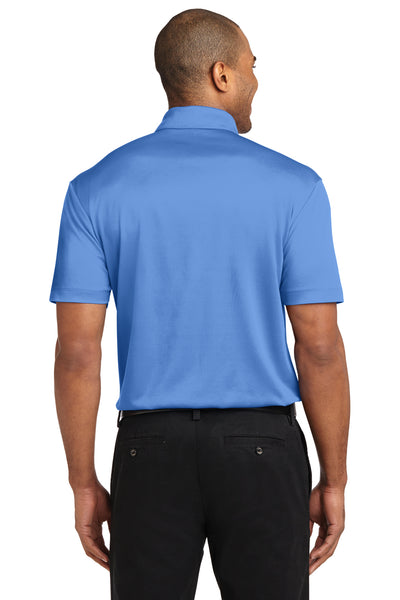 Port Authority K540P Mens Silk Touch Performance Moisture Wicking Short Sleeve Polo Shirt w/ Pocket Carolina Blue Back