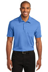 Port Authority K540P Mens Silk Touch Performance Moisture Wicking Short Sleeve Polo Shirt w/ Pocket Carolina Blue Front