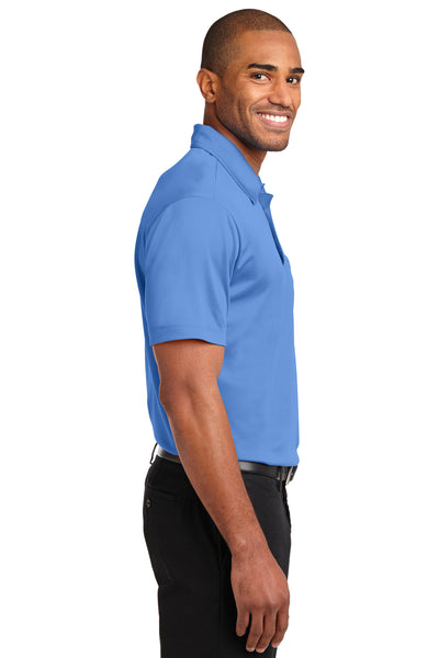 Port Authority K540P Mens Silk Touch Performance Moisture Wicking Short Sleeve Polo Shirt w/ Pocket Carolina Blue Side