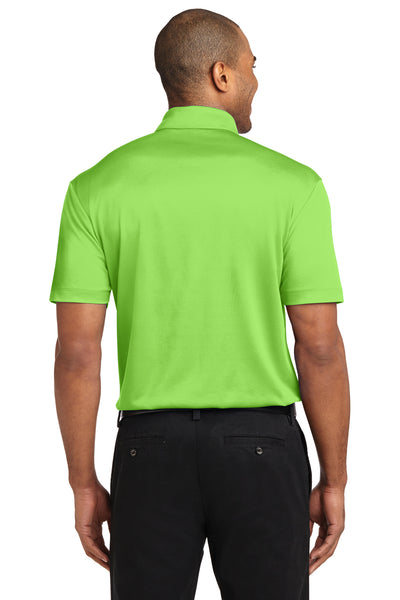 Port Authority K540P Mens Silk Touch Performance Moisture Wicking Short Sleeve Polo Shirt w/ Pocket Lime Green Back