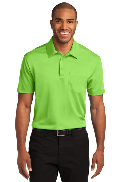 Port Authority K540P Mens Silk Touch Performance Moisture Wicking Short Sleeve Polo Shirt w/ Pocket Lime Green Front