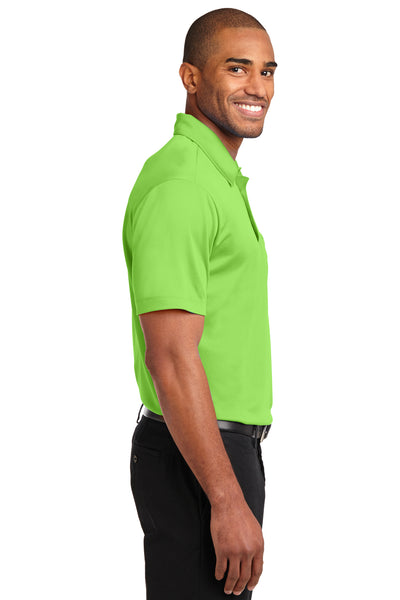 Port Authority K540P Mens Silk Touch Performance Moisture Wicking Short Sleeve Polo Shirt w/ Pocket Lime Green Side