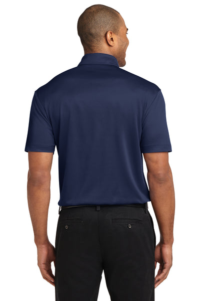 Port Authority K540P Mens Silk Touch Performance Moisture Wicking Short Sleeve Polo Shirt w/ Pocket Navy Blue Back