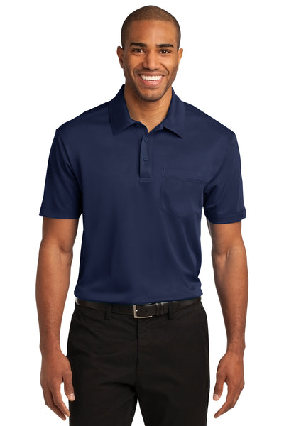Port Authority K540P Mens Silk Touch Performance Moisture Wicking Short Sleeve Polo Shirt w/ Pocket Navy Blue Front