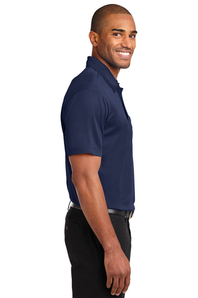 Port Authority K540P Mens Silk Touch Performance Moisture Wicking Short Sleeve Polo Shirt w/ Pocket Navy Blue Side