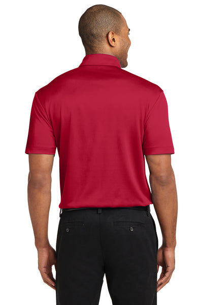 Port Authority K540P Mens Silk Touch Performance Moisture Wicking Short Sleeve Polo Shirt w/ Pocket Red Back