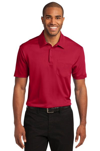 Port Authority K540P Mens Silk Touch Performance Moisture Wicking Short Sleeve Polo Shirt w/ Pocket Red Front