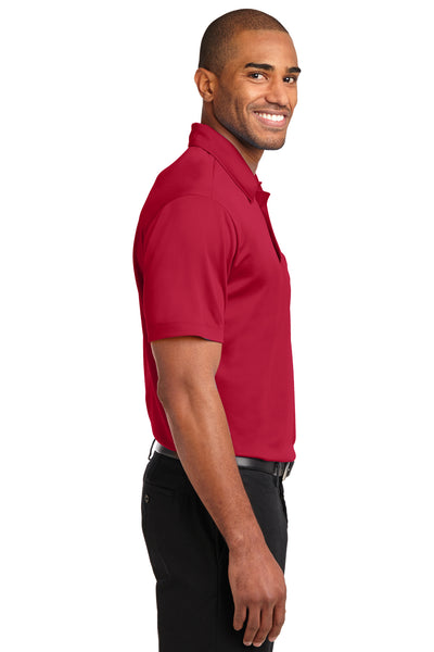 Port Authority K540P Mens Silk Touch Performance Moisture Wicking Short Sleeve Polo Shirt w/ Pocket Red Side