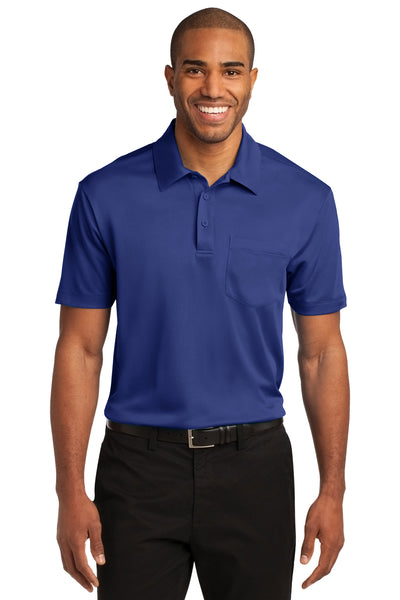 Port Authority K540P Mens Silk Touch Performance Moisture Wicking Short Sleeve Polo Shirt w/ Pocket Royal Blue Front