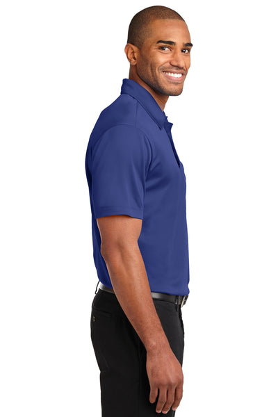 Port Authority K540P Mens Silk Touch Performance Moisture Wicking Short Sleeve Polo Shirt w/ Pocket Royal Blue Side
