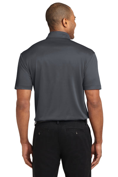Port Authority K540P Mens Silk Touch Performance Moisture Wicking Short Sleeve Polo Shirt w/ Pocket Steel Grey Back