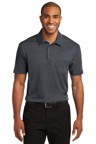 Port Authority K540P Mens Silk Touch Performance Moisture Wicking Short Sleeve Polo Shirt w/ Pocket Steel Grey Front