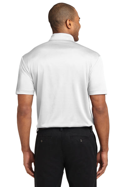 Port Authority K540P Mens Silk Touch Performance Moisture Wicking Short Sleeve Polo Shirt w/ Pocket White Back