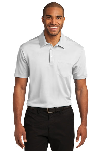 Port Authority K540P Mens Silk Touch Performance Moisture Wicking Short Sleeve Polo Shirt w/ Pocket White Front