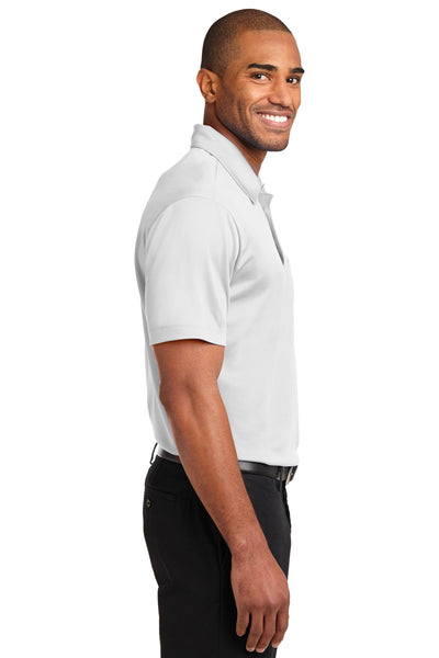 Port Authority K540P Mens Silk Touch Performance Moisture Wicking Short Sleeve Polo Shirt w/ Pocket White Side