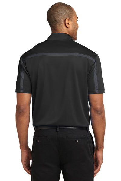 Port Authority K547 Mens Silk Touch Performance Moisture Wicking Short Sleeve Polo Shirt Black/Grey Back
