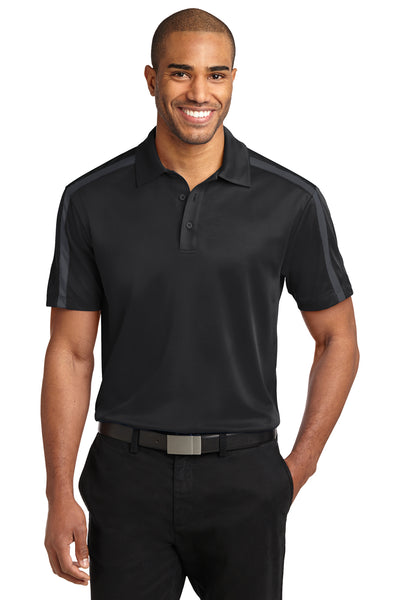 Port Authority K547 Mens Silk Touch Performance Moisture Wicking Short Sleeve Polo Shirt Black/Grey Front
