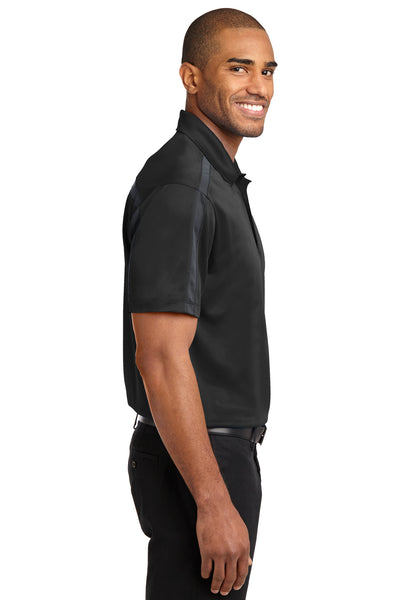 Port Authority K547 Mens Silk Touch Performance Moisture Wicking Short Sleeve Polo Shirt Black/Grey Side