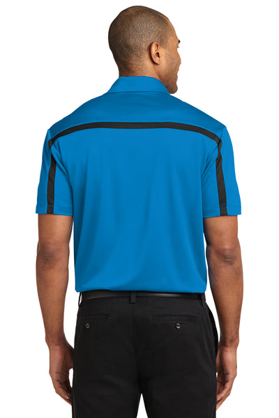 Port Authority K547 Mens Silk Touch Performance Moisture Wicking Short Sleeve Polo Shirt Brilliant Blue/Black Back