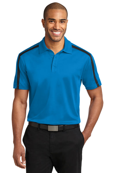 Port Authority K547 Mens Silk Touch Performance Moisture Wicking Short Sleeve Polo Shirt Brilliant Blue/Black Front