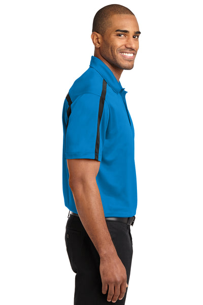 Port Authority K547 Mens Silk Touch Performance Moisture Wicking Short Sleeve Polo Shirt Brilliant Blue/Black Side