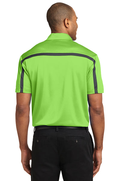 Port Authority K547 Mens Silk Touch Performance Moisture Wicking Short Sleeve Polo Shirt Lime Green/Grey Back