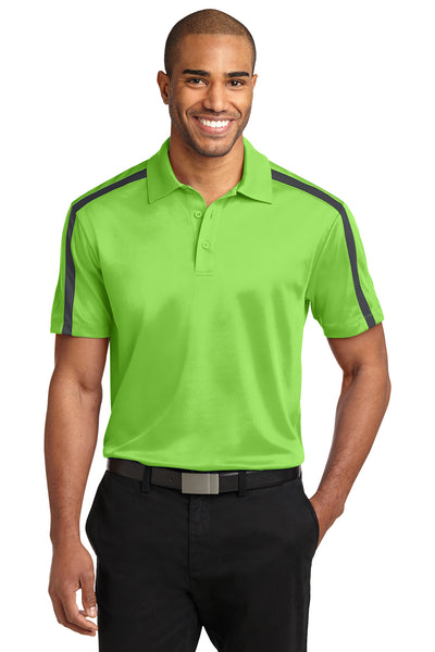 Port Authority K547 Mens Silk Touch Performance Moisture Wicking Short Sleeve Polo Shirt Lime Green/Grey Front