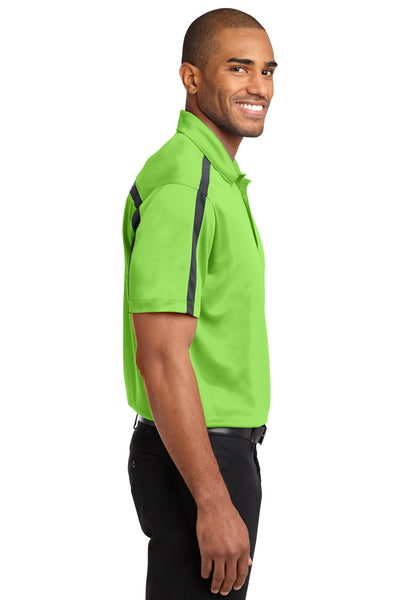 Port Authority K547 Mens Silk Touch Performance Moisture Wicking Short Sleeve Polo Shirt Lime Green/Grey Side