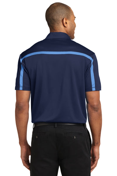 Port Authority K547 Mens Silk Touch Performance Moisture Wicking Short Sleeve Polo Shirt Navy Blue/Carolina Blue Back