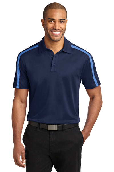 Port Authority K547 Mens Silk Touch Performance Moisture Wicking Short Sleeve Polo Shirt Navy Blue/Carolina Blue Front