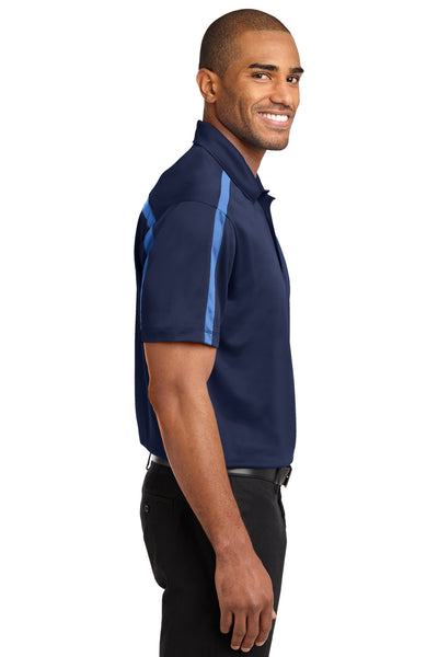 Port Authority K547 Mens Silk Touch Performance Moisture Wicking Short Sleeve Polo Shirt Navy Blue/Carolina Blue Side