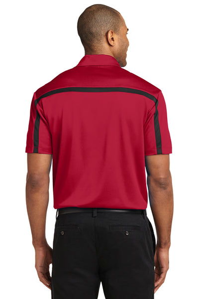 Port Authority K547 Mens Silk Touch Performance Moisture Wicking Short Sleeve Polo Shirt Red/Black Back