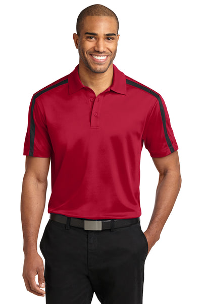 Port Authority K547 Mens Silk Touch Performance Moisture Wicking Short Sleeve Polo Shirt Red/Black Front