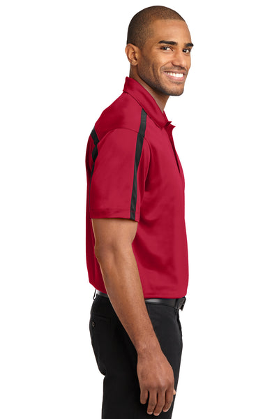 Port Authority K547 Mens Silk Touch Performance Moisture Wicking Short Sleeve Polo Shirt Red/Black Side